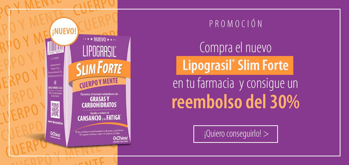 Compra el nuevo Lipograsil® Slim Forte en tu farmacia y consigue un reembolso del 30%